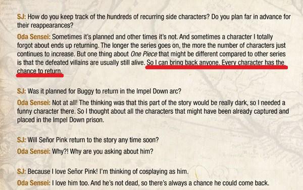 Câu nói đầy ẩn ý của tác giả Oda trong cuộc phỏng vấn với fan hâm mộ